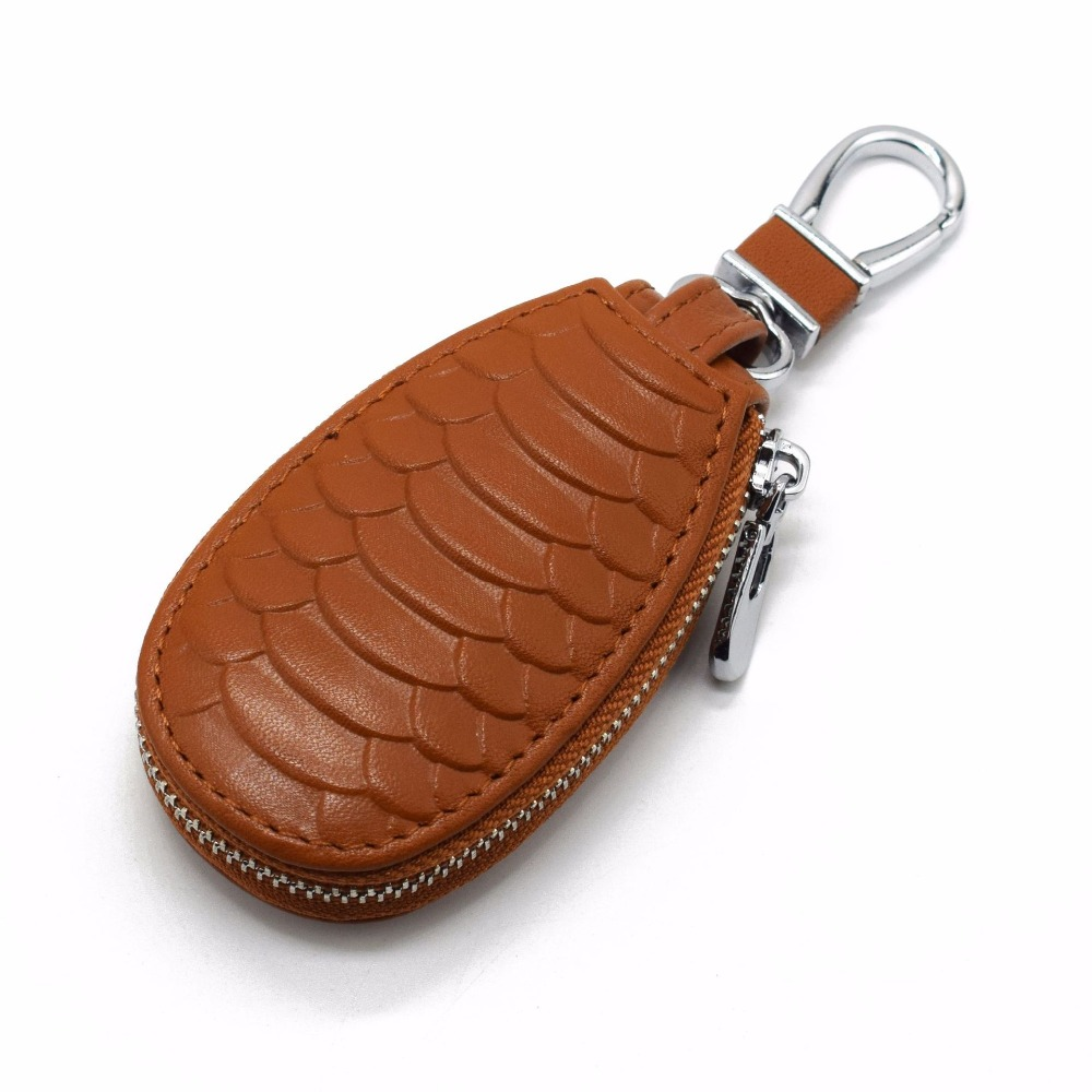 Men Women Car Key Holder Wallets Cow Leather Embossed Snake Housekeeper Card Zipper Case Keys Organizer Money Bag Smart