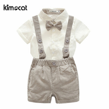 цена на Kimocat Summer Short Sleeve Shirt+Pants 2pcs Baby Boys Clothes 0-2Y Sets Gentleman tie pair of pantsuits newborn baby clothing