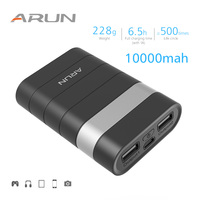 ARUN High Safety 10000mah Power Bank Dual USB Output 2.1A Portable Backup Battery Packs For Samsung iPhone Xiaomi Huawei