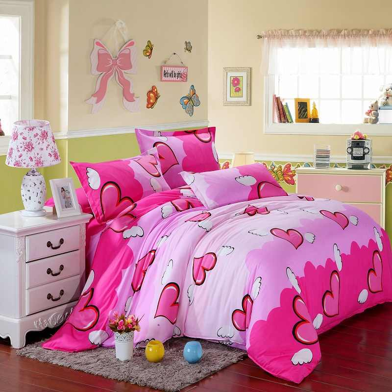 Dark Pink Heart Love Bedding Set Girl Teenage Adult Linen Duvet Cover Pillowcase Flat Bed Sheet