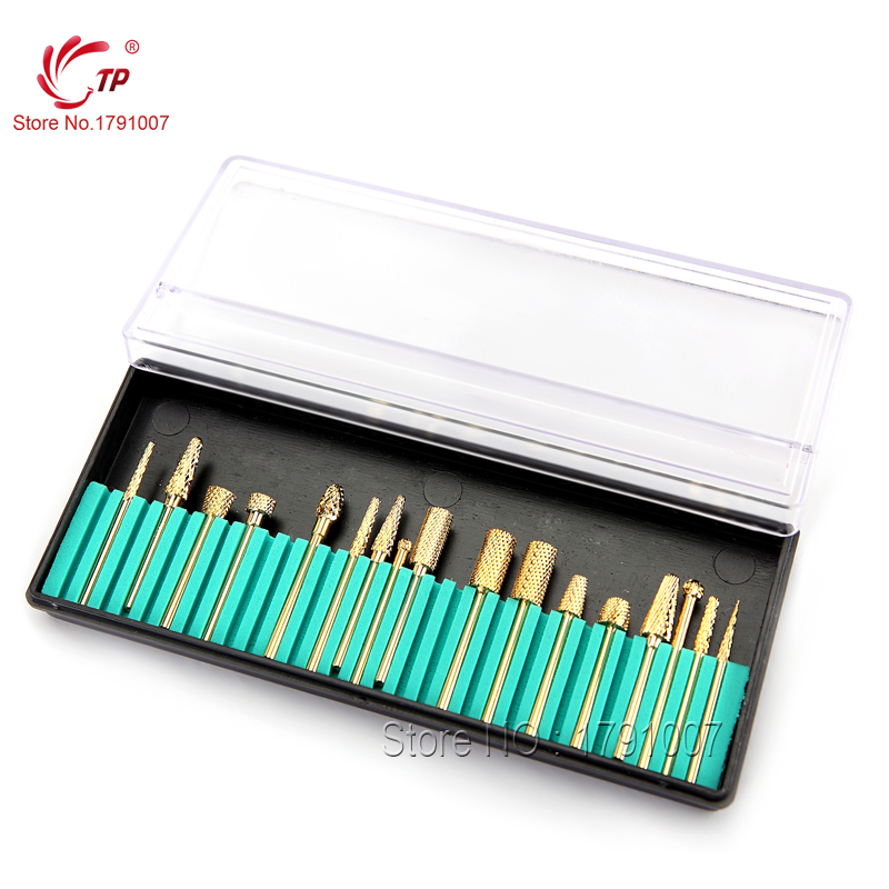 17pcs/set Nail Drill Bits File Grinding Head Set Electric Machine Gold Coated Carbide For Electric Manicure Care Tools Kits reciprocating gas file file pneumatic vibration grinding machine grinding machine bd 0049