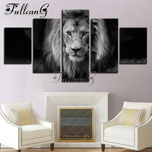 FULLCANG 5 piece diy diamond painting animal lion black & white full square/round drill mosaic embroidery multi-picture FC715