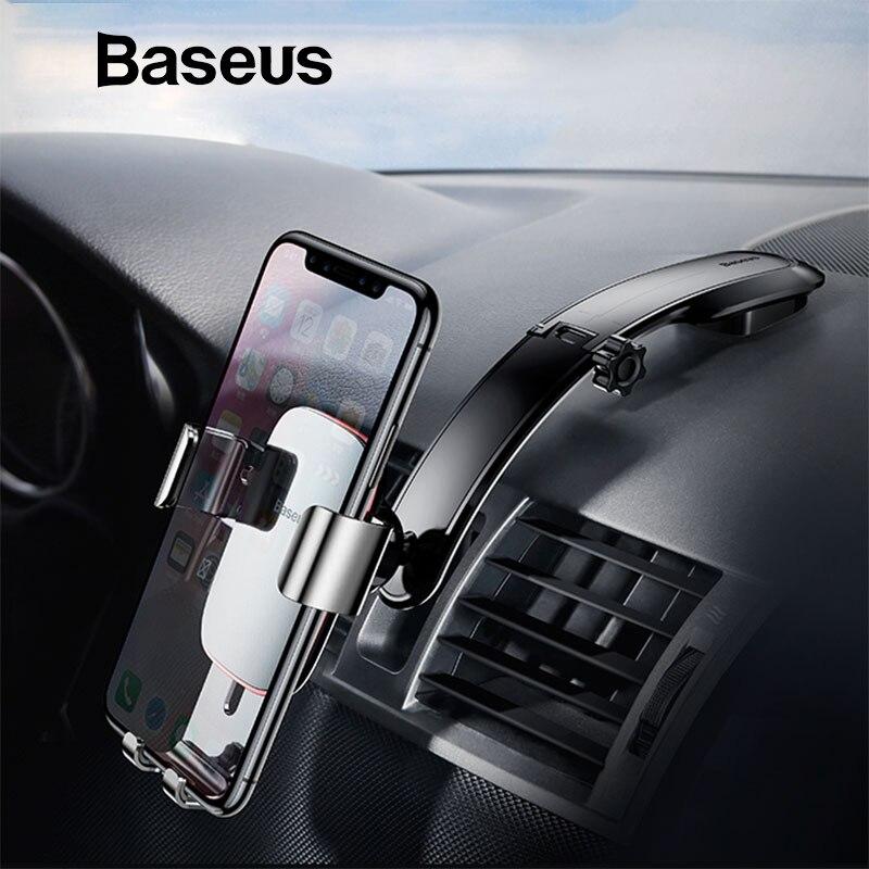 Baseus Metall Auto Halter Für iPhone X Samsung S9 Handy Halter Stehen Schwerkraft Air Vent Halterung GPS Auto Telefon halter Halterung