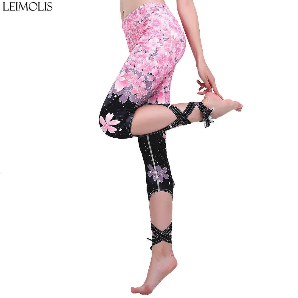 LEIMOLIS Cherry Blossom Gradual Strappy Bowknot Ribbons Plus Size High Waist Workout Punk Rock Fitness Leggings Women Pants