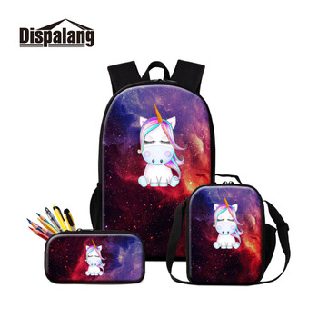 Dispalang 3 Pcs/Set Women Backpack Unicorn Print School Bag with Pencil Case Children Schoolbag For Teenagers Student Book Bag