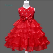 Tonlinker 2018 Summer girls Dress bowknot Lace Kids Birthday party Clothing  Events Party Wear Dresses Girls
