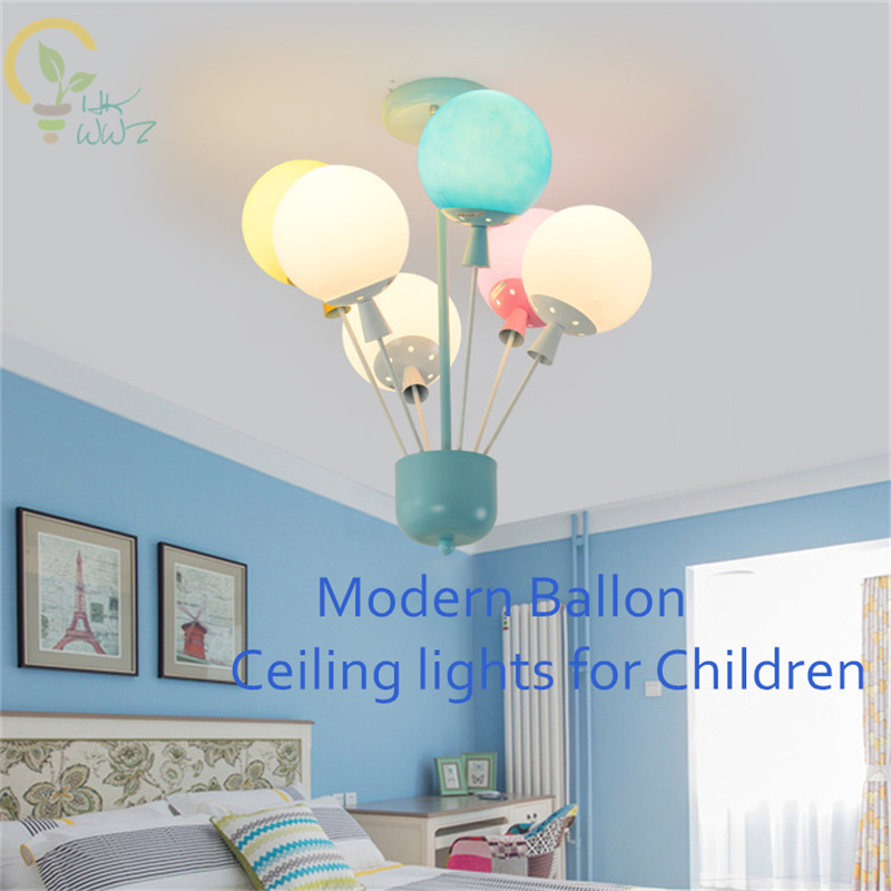 Us 123 3 10 Off Creative Modern Balloon Ceiling Lights Children S Room Lamps Boys Bedroom Lamp With Colourful Gl Lampshade In