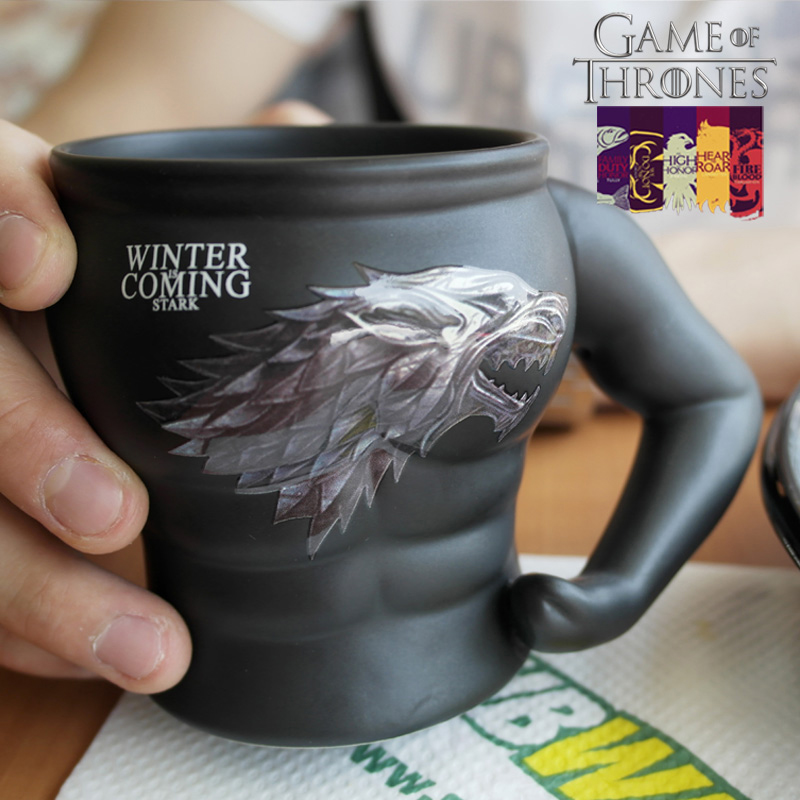 Anime 320ml Game Of Thrones Mug Creative Wolf Mug Funny Ceramic Coffee Tea Cup For Man Woman Christmas Gift creative ceramic schedule mug w sponge rubber suction cup pen holder pencil white