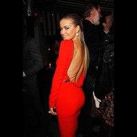 Red Long Sleeve Kim Kardashian Bodycon Sheath Slim Prom Knee Length Cocktail Gowns Celebrity Dresses 2016
