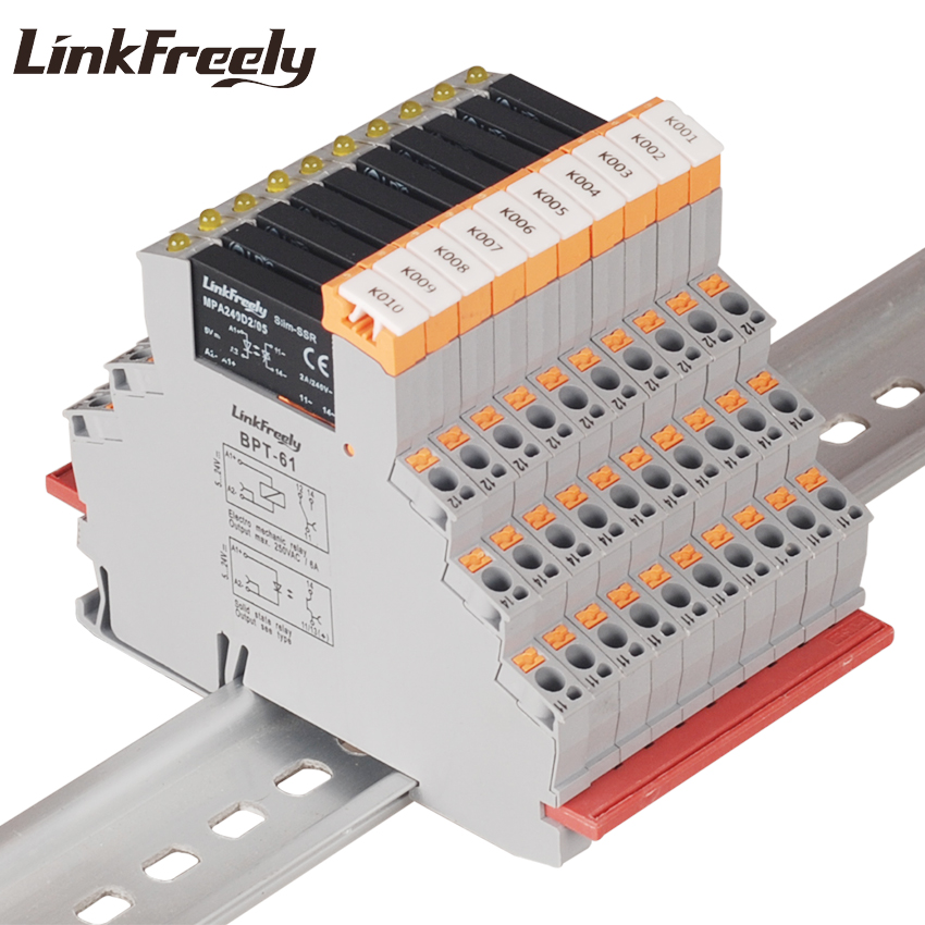 MPA240D2/05BPT 10pcs Plug-in Spring Programmable Voltage Relay Module 5VDC In 240VAC 2A Output DC AC SSR Solid State Din
