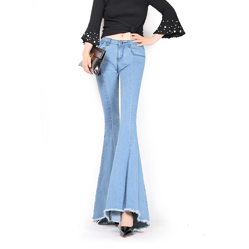 Free Shipping 2017 New Fashion Long Jeans Pants For Women Flare Trousers Plus Size 24-32 Size Denim Female Summer Tassels Jeans plus size pants the spring new jeans pants suspenders ladies denim trousers elastic braces bib overalls for women dungarees