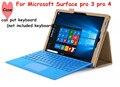Venta al por mayor la cubierta del tirón para Microsoft Surface pro 3 pro 4 tableta caso de cuero de caja mano con el sostenedor ( puede poner )
