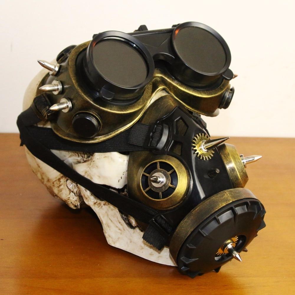 Black Plastic & Bronze Resin Rivet Retro Rock Full Face Respirator Gas Mask Goggles Halloween Gothic Accessories Steampunk Props