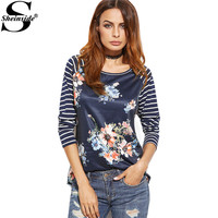 Sheinside Womens Printed Long Sleeve Tshirt Korean Fashion T Shirt Navy Striped Raglan Sleeve Floral Print T-shirt