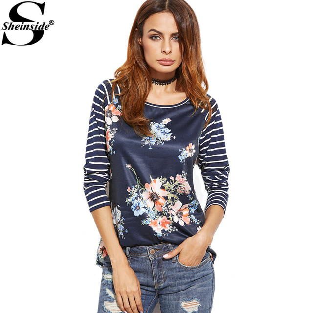 8eddaecdd86eb Sheinside Womens Printed Long Sleeve Tshirt Korean Fashion T Shirt Navy  Striped Raglan Sleeve Floral Print T-shirt