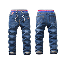 2018 new autumn and winter boys girls double plus velvet jeans soft stretch children warm pants
