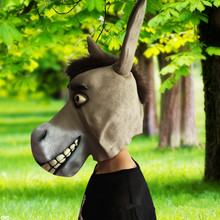 Creepy Donkey Latex Mask Mr Silly Animal Funny Halloween Cosplay Costume Prop Breathable Festival Party Supplies