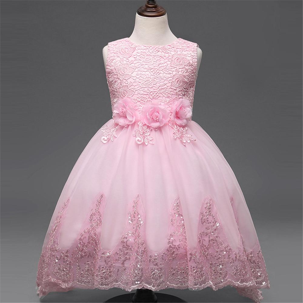 girls dresses for children clothing kids flower baby white dress ...