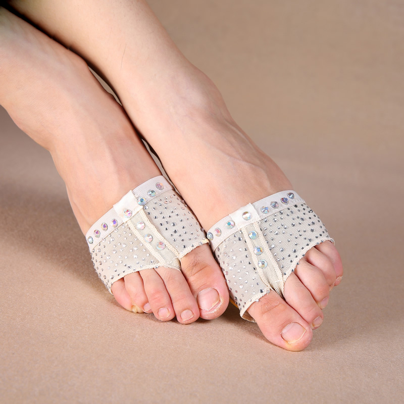 Sequins Heel Protector Professional Ballet Dance Socks 1 Pair Belly Dancing Foot Thong Toe Pad Belly Dance Accessories