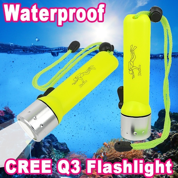 CREE Q3 180Lm LED Light Dive Flashlight 25m 3W Diving Sports Torch Waterproof SCUBA Submersible Hand Lamp Under Water Spotlight