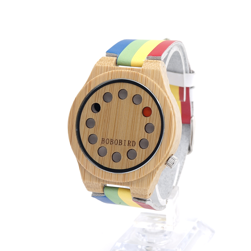 BOBO BIRD Japanese miyota 2035 movement wristwatches mutil color genuine leather stripe bamboo wooden watches for