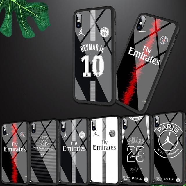 1cbf1ed55ba Fly PSG Paris Football Jersey Jordan 23 Neymar Black Silicone Edge Tempered  Glass Back Case For iphone 8 6S 7Plus XS XR MAX