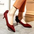 Señoras Retro Elegante Más El tamaño US11 12 Volver Arco talones Tapa llanura Puntiagudo Nubuck charol Altos talones Finos de Las Mujeres Zapatos de Fiesta