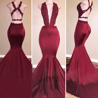 Burgundy Deep V Neck Sexy Formal Long Evening Gowns Mermaid Women Pageant Backless Lace Prom Dresses