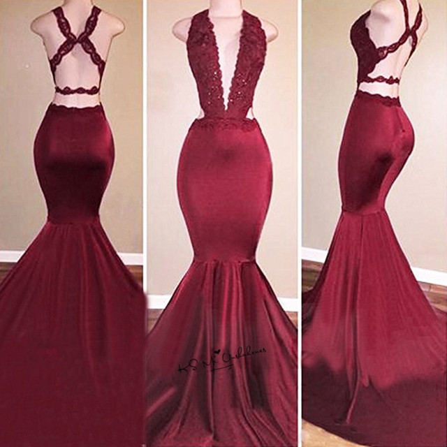 1eeeb2626fe Burgundy Deep V Neck Sexy Formal Long Evening Gowns Mermaid Women Pageant Backless  Lace Prom Dresses 2018 Robe de Soiree Courte