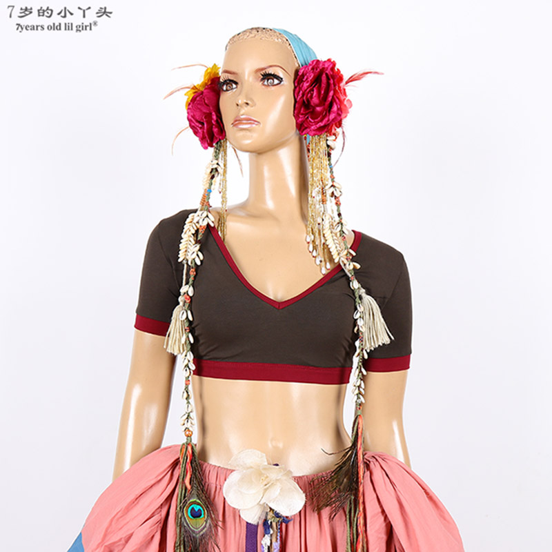 Belly Dance Top Lycra Cotton Belly Dance V Collar Choli Short Top BTT01-05