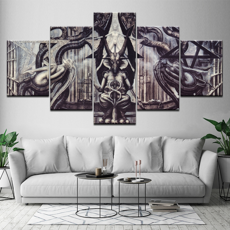 HD Print 5 pcs Modular alien totem art canvas painting modern home decor wall art picture print for living room decor artwork in Painting Calligraphy from Home Garden