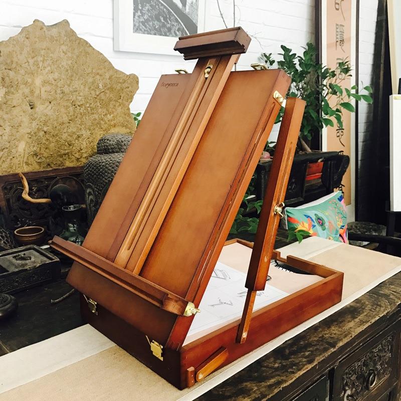 Деревянный ноутбук поле станковой живописи для акварели аппаратными аксессуарами Многофункциональный живопись чемодан товары для рукоде