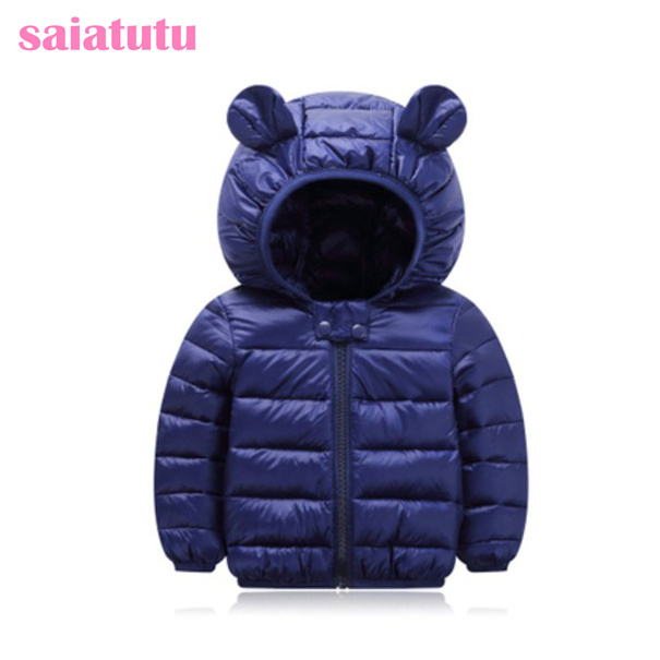 Best Offers navy blue kids baby children warm winter clothing girl Outerwear Coats Down jackets Parkas Cotton-padded jacket cute fashion