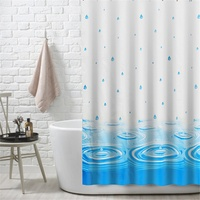 NEW Blue PEVA Shower Curtain Waterproof Mold Proof Eco Friendly Endless Bath Curtain Hot Bathroom Products