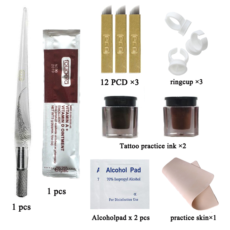 Permanent Makeup 3D Micropigment Eyebrow Tattoo Kit Brow Embroidery Eyebrow Microblading Kit Manual Pen Tattoo Ink Practice Skin 2pcs blue silicone permanent makeup eyebrow tattoo practice skin practice skin for microblading tattoo machine