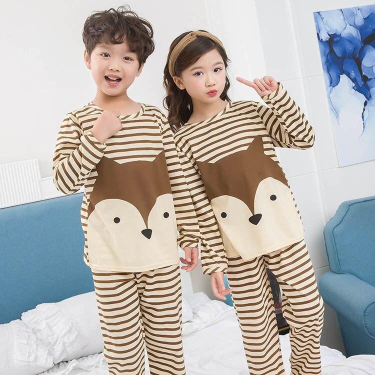 Spring&autumn New Kids Long Sleeved Pajamas Sets Girls Pajama Boys Sleepwear Tops Children Home Clothing Cartoon Baby Nightwear