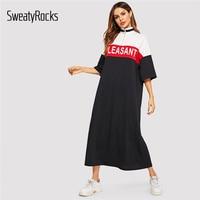 SweatyRocks Mektup Baskı Renk blok Yarım Placket Elbise için Kadın 2019 Yaz Standı Yaka Athleisure Elbiseler Gevşek uzun elbise|Elbiseler|   -