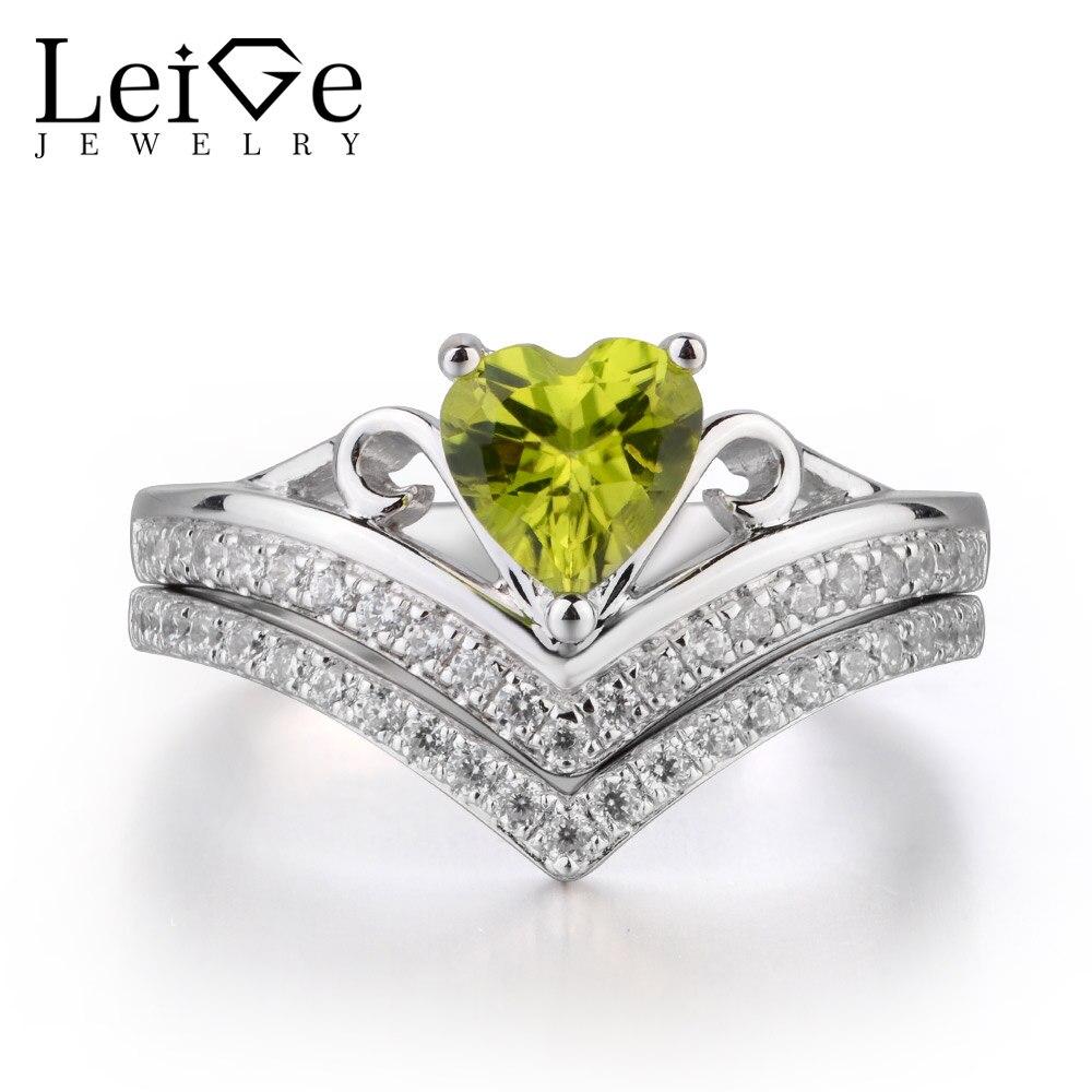 купить Leige Jewelry Genuine Natural Peridot Ring Wedding Ring 925 Sterling Silver Ring Heart Cut Green Gemstone August Birthstone по цене 6799.75 рублей