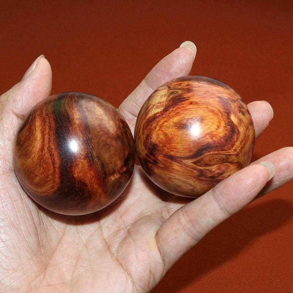55mm 2 pièces balles de santé Véritable Hainan Chinois huanghuali bois de rose sphère hommes cadeau décor bois handball à collectionner