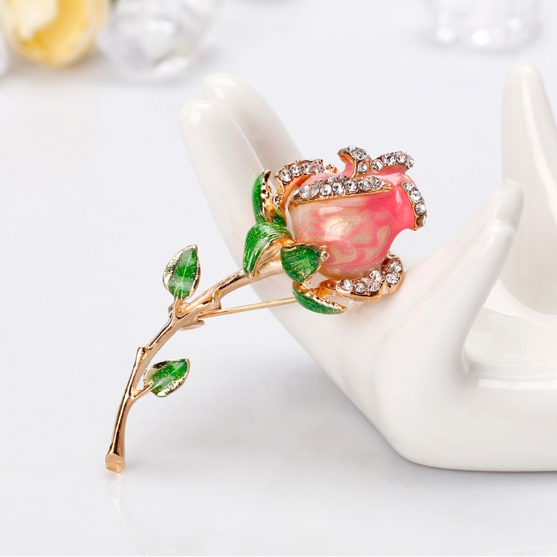 aa4429722 JAVRICK Rose Flower Brooch Pins Jewelry Women Luxury Banquet Fashion  Decoration Corsage Girl Party Dress Accessories
