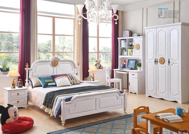 Jlmf822 Ash Solid Wood Children Bedroom Furniture Set Health Environmentally Friendly Bed Wardrobe Desk Bedside