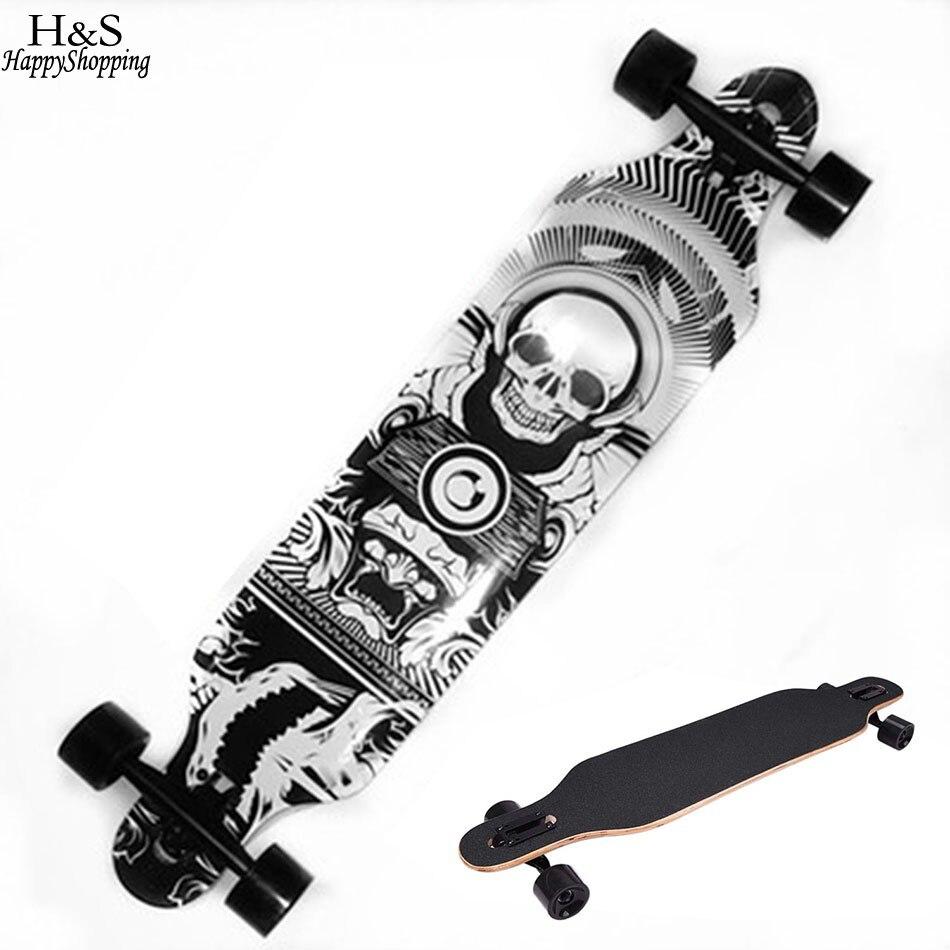 Skateboard con patrón de calavera para niños, Longboard, patín resistente a patines, 4 ruedas, tablero largo de calle descendente antichoque