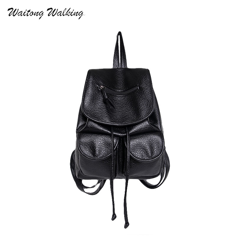 Women Bag Bagpack Leather Famous Brand School Bags For Teenager Girls Boys Small Waterproof Backpack Mochila Feminina b168  brand vintage women bagpack beetle shape cool split leather backpack teenager school bag knapsack cowhide mochila feminina