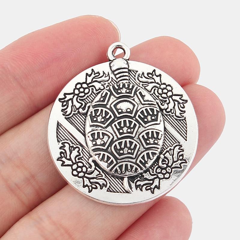 10pcs Antique Silver Round Pendants Engraved Turtle Tortoise Charm DIY Jewellery Making 30mm