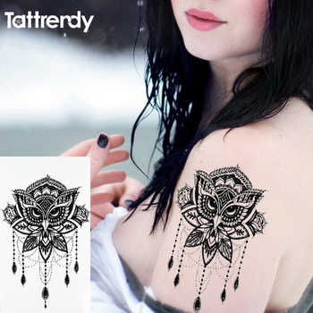 1pcs Watercolor cool henna rose flowers Temporary Body Tattoo Beautiful Shoulder thigh Back Body decor lace owl women body paint 2
