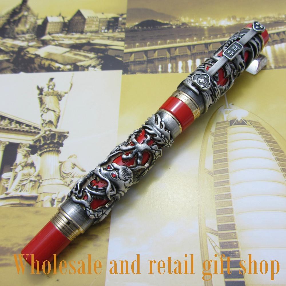 Fountain Pen JINHAO J100 Dragon and Phoenix Antique Ancient silverand Red Screw Heavy pen Chinese auspicious dragon