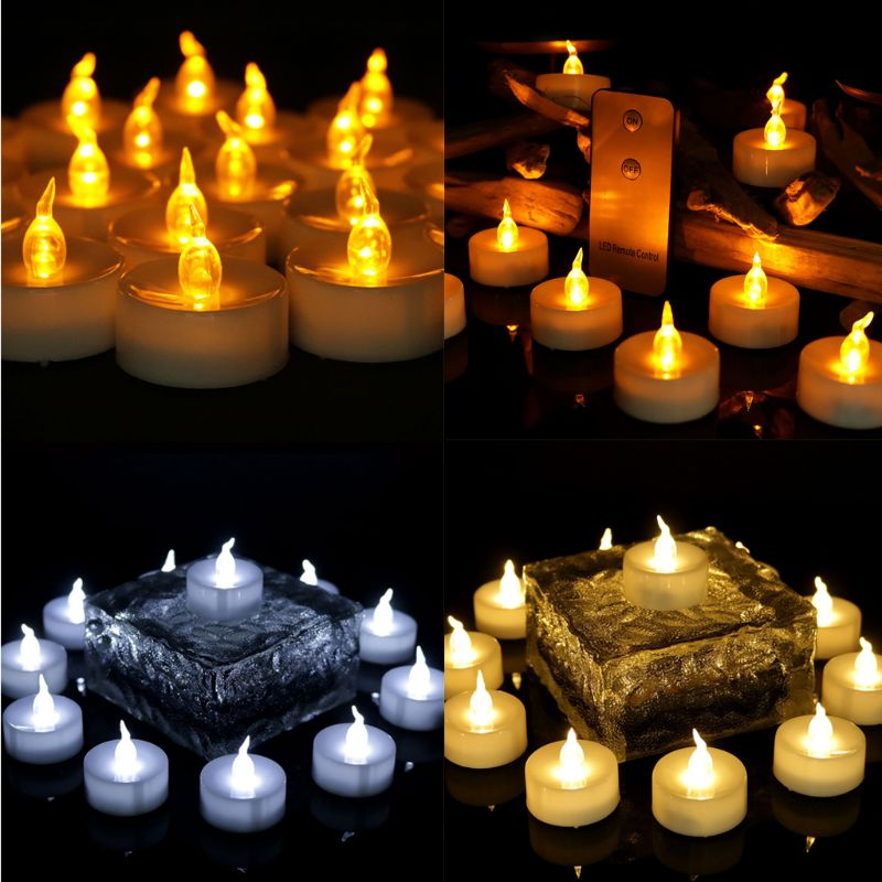 12pcs Flickering LED Candle Lights With Remote Control Flameless Electric Tealight|  - title=