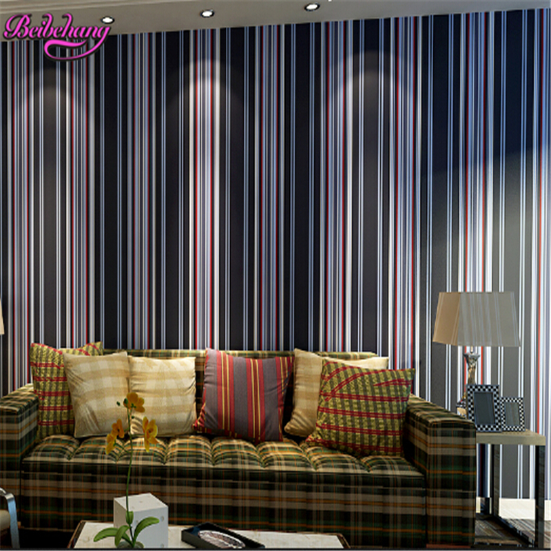 beibehang Simple vertical striped 3d wallpaper Mediterranean style boy bedroom living room backdrop nonwovens papel de parede beibehang wallpaper vertical stripes 3d children s room boy bedroom mediterranean style living room wallpaper