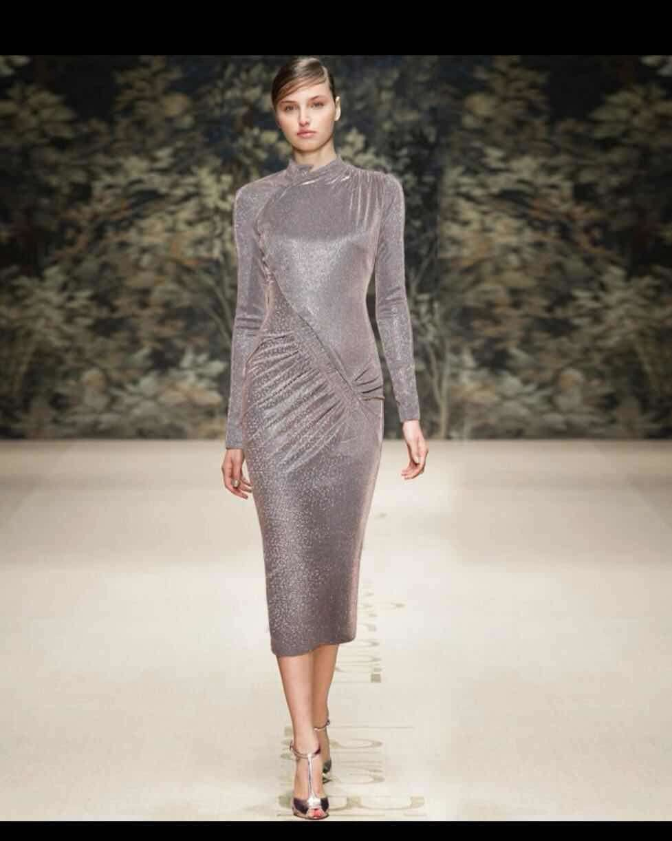 2019 robe moulante élégante mode silm tempérament à manches longues robe bohème vintage plissé midi femmes vêtements printemps robes