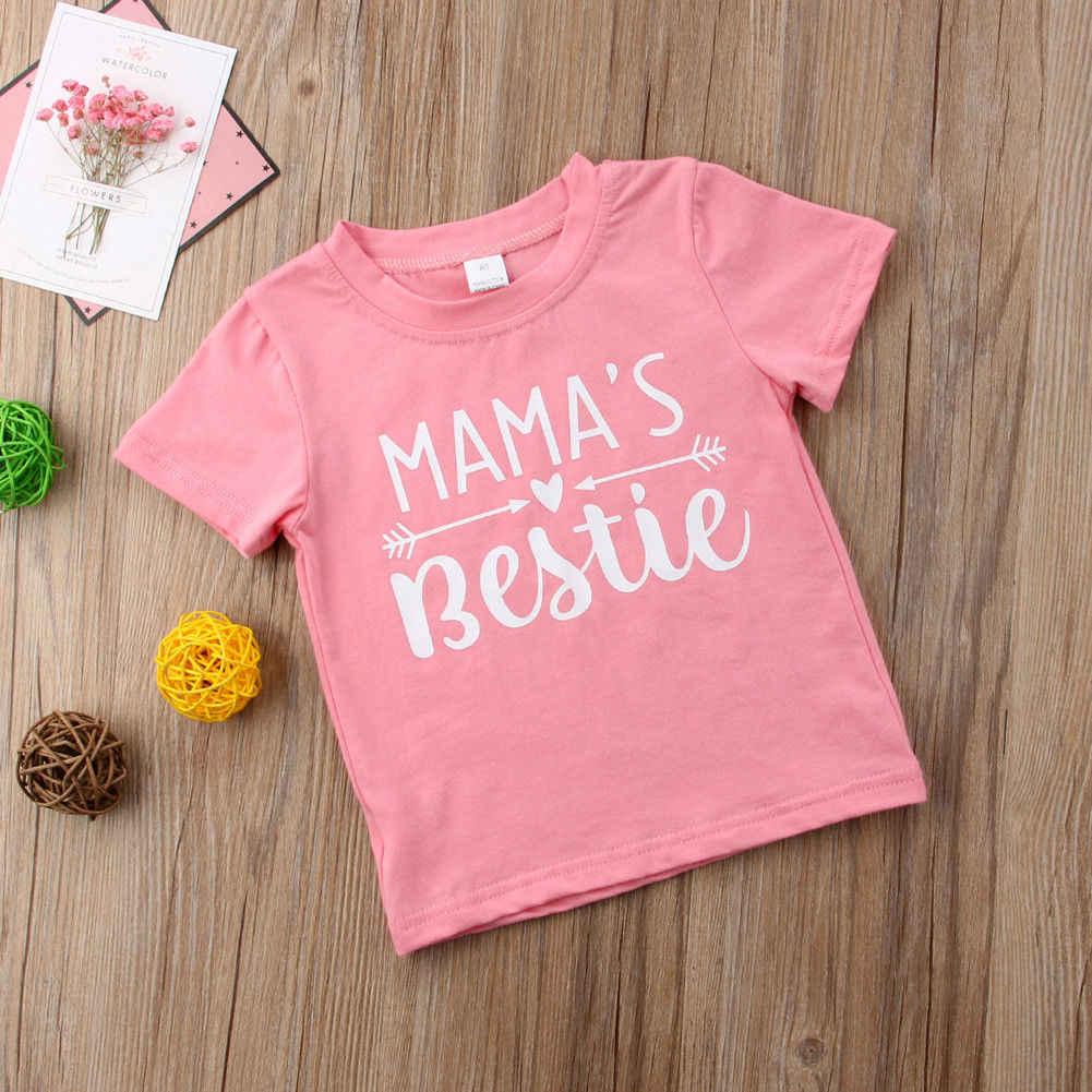 2018ブランド新しい幼児幼児児童子供女の子ベビーピンクショート袖ブラウスtシャツtシャツトップスtシャツカジュアル夏の服1-6 t